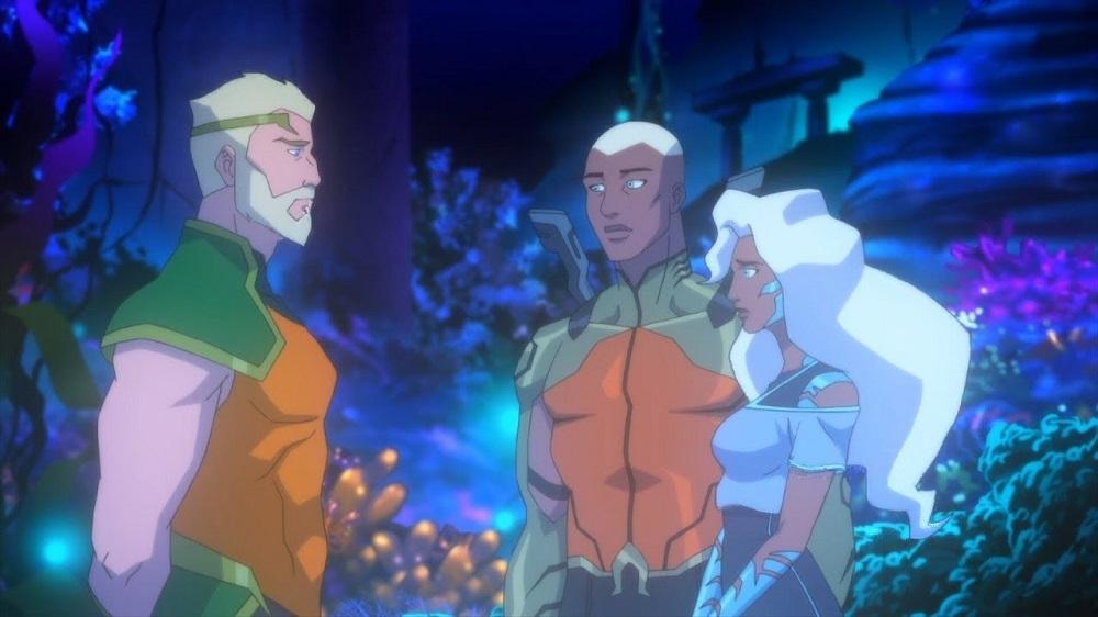 Quiet Conversations - two Aquamen and Dolphin