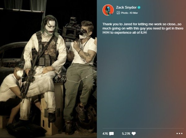 Screenshot of Vero post by Zack Snyder thanking Leto for his work as the Joker.