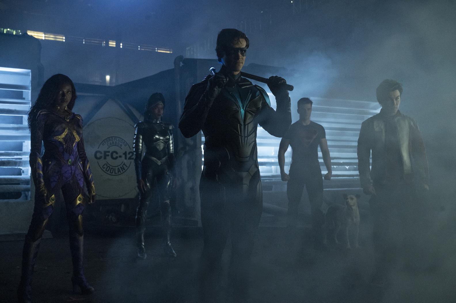 Anna Diop, Damaris Lewis, Brenton Thwaites, Joshua Orpin, Ryan Potter in Titans Season 3 Episode 7 51%